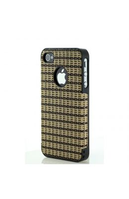 CDN iphone 4 / 4s Leather & Wooden Skin Back Cover (G018 - 04) With Value Bundle Package