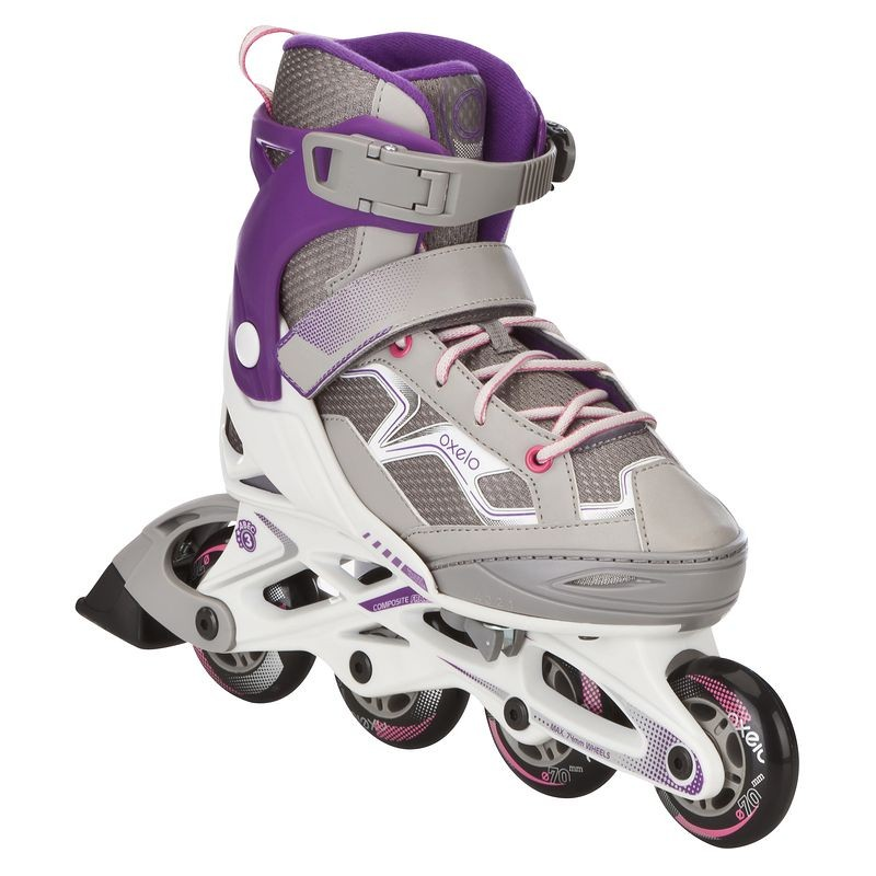 Rollers Inline (Grey Purple) (Size - 10.5-13 Uk) - Roller Fit3 Junior Girl