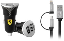 Ferrari Bundle Pack - Car Charger with Carbon Fiber print - USB Cable - Black