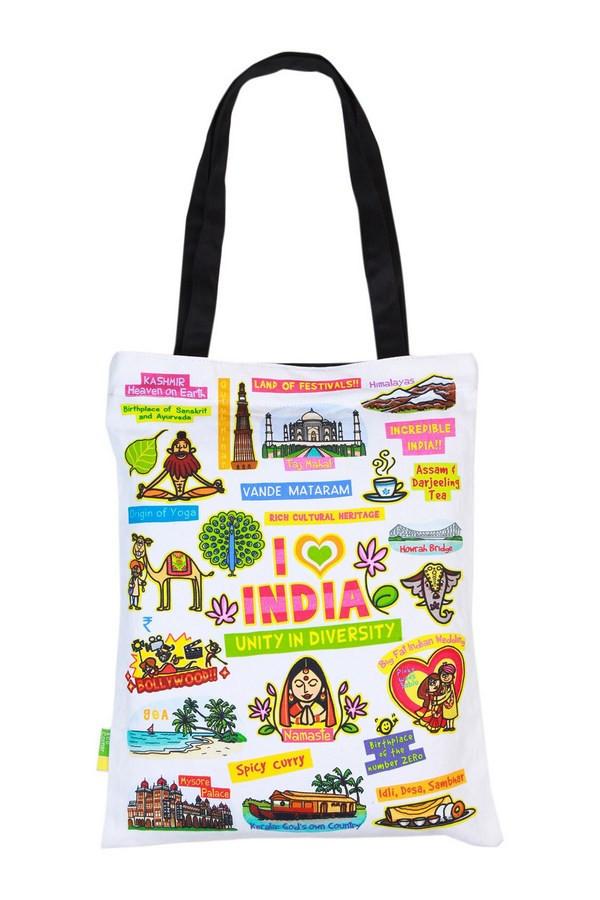 Eco Corner Small White India Bag