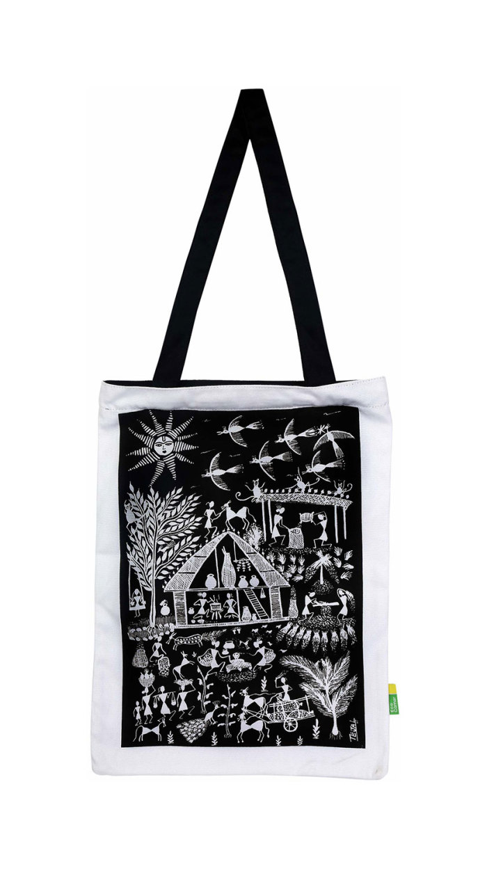 Eco Corner Black Warli Cotton Bag