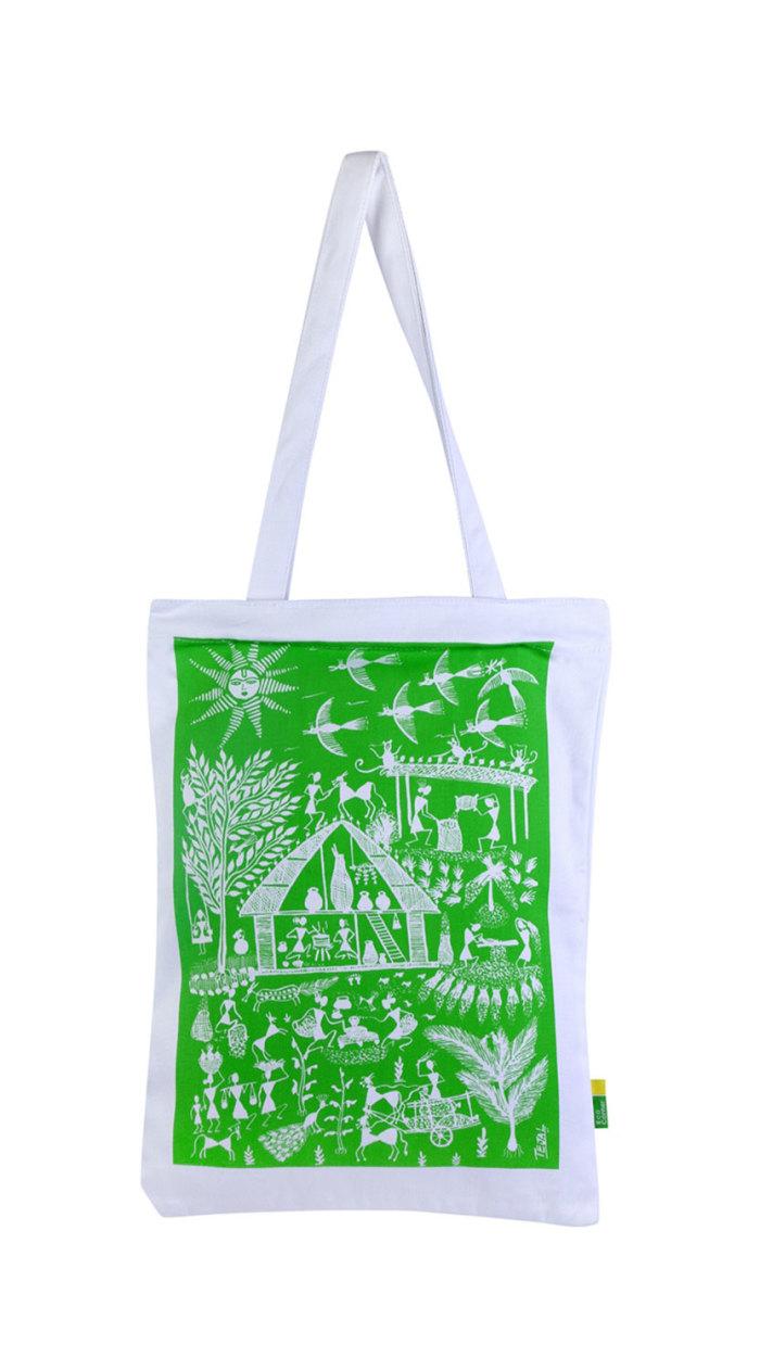 Eco Corner Green Warli Cotton Bag
