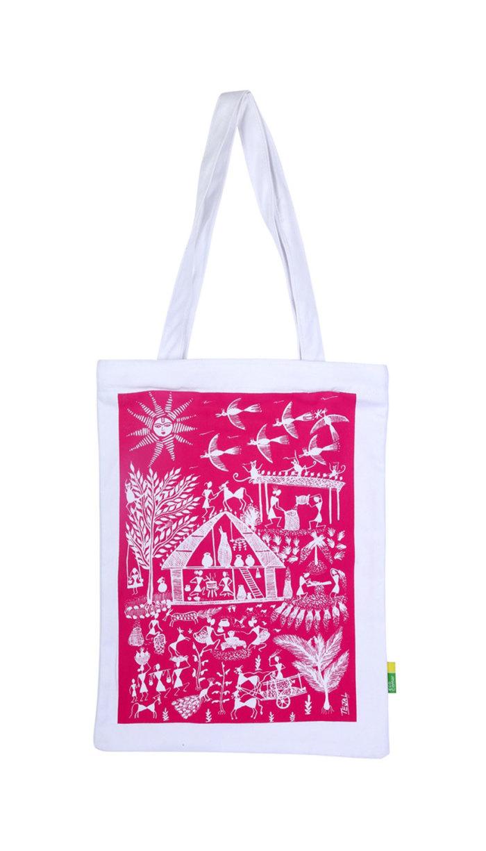 Eco Corner Pink Warli Cotton Bag