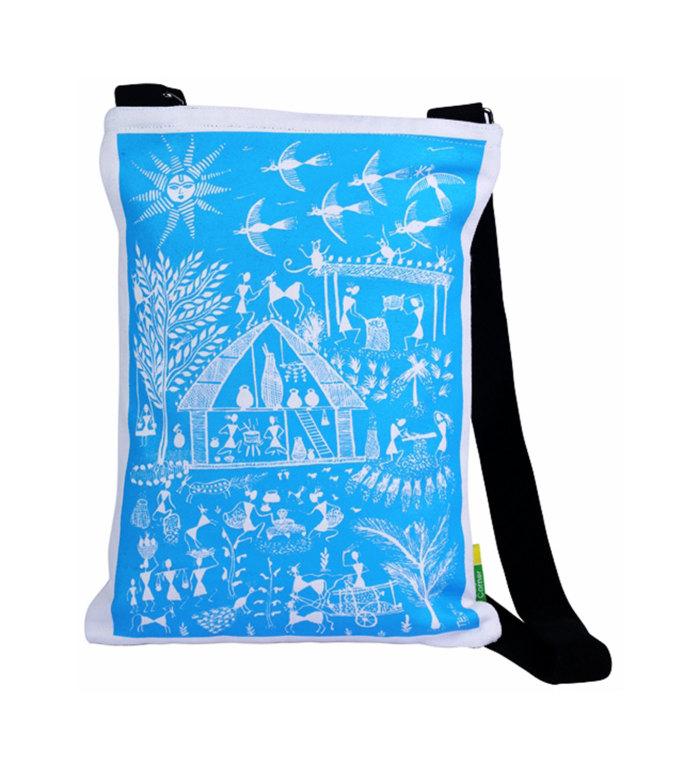 Eco Corner Blue Warli Cotton Sling Bag