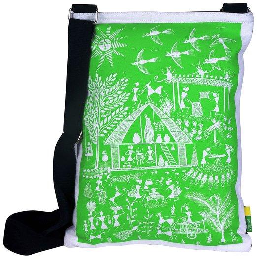 Eco Corner Green Warli Cotton Sling Bag