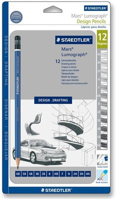 Staedtler Mars Lumograph 12 assorted.degrees Pencil - Metal box