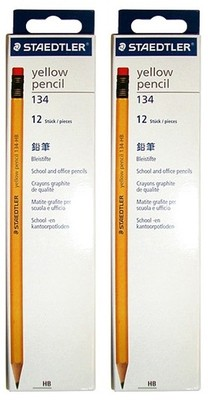 Staedtler Yellow Pencil with Eraser Tip - HB pack of 12 nos.