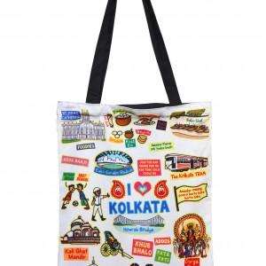 Eco Corner Small White Kolkata Cotton Bag