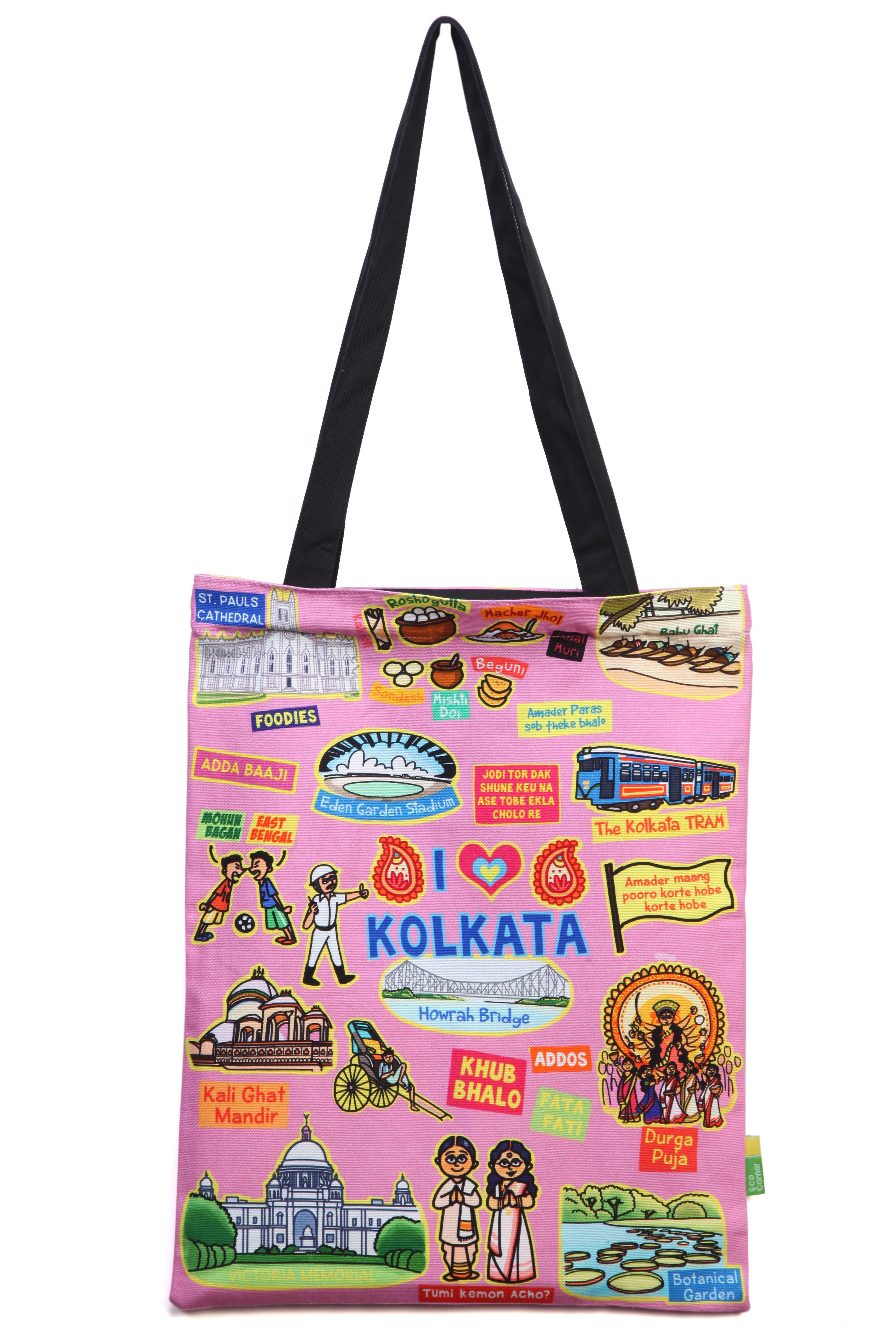 Eco Corner Small Coloured Kolkata Cotton Bag
