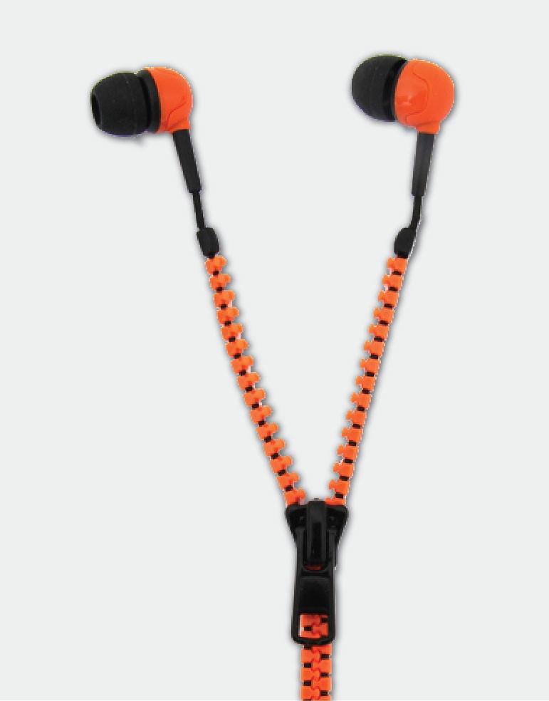Thumbs Up Zip Earphones-Orange