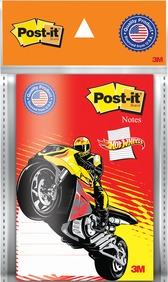 "3M Post-it 4""x6"" White Lined Hot Wheels Notes-50 Sheets"