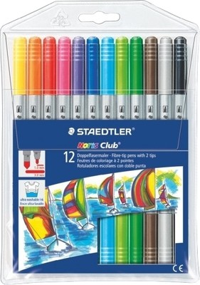 Staedtler Noris Club fibre tip pen with both side tips 12 colors