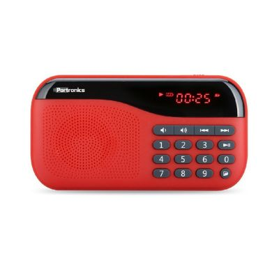 Portronics Plugs Speaker Display+FM (Red)