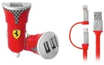 Ferrari Bundle Pack - Car Charger with Carbon Fiber print - USB Cable - Red
