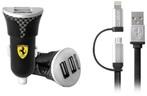 Ferrari Bundle Pack - Car Charger with Carbon Fiber print - USB Cable - Black