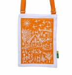 Eco Corner Small Orange Warli Cotton Sling Bag